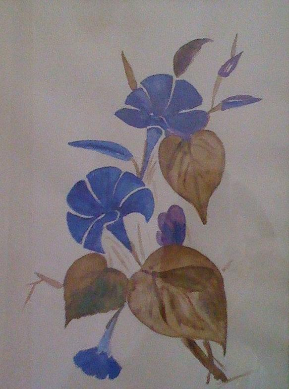 Floral Painting - Blue Flowers by Sapna Dogra Singh