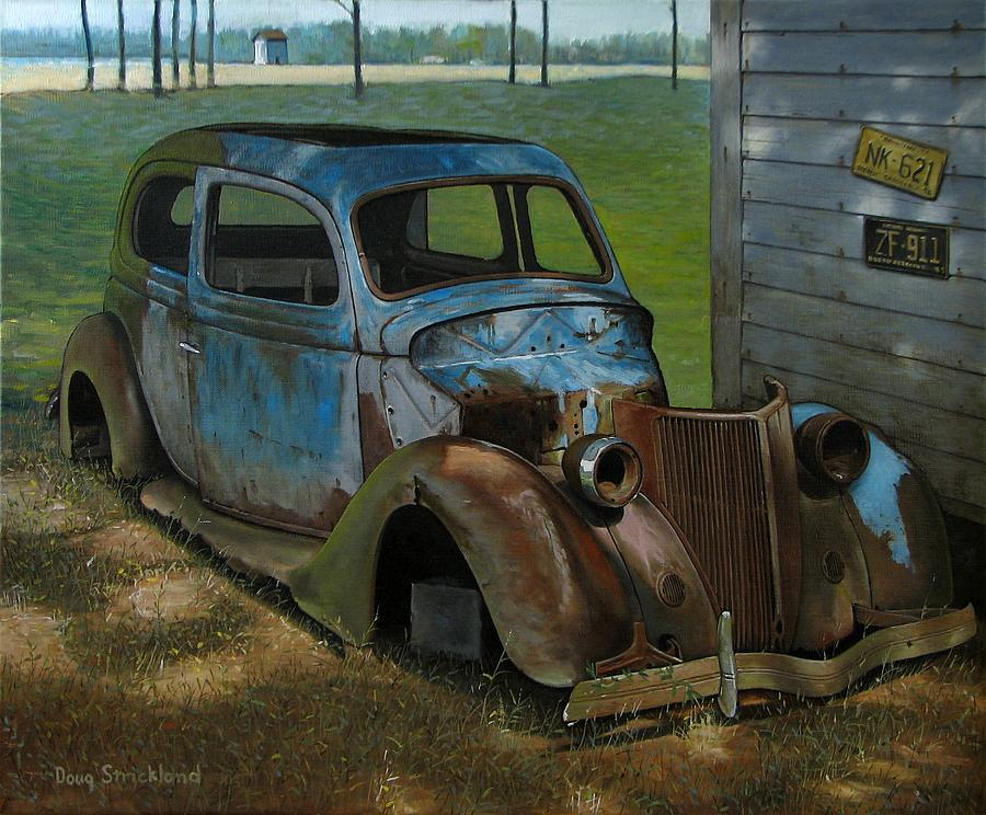 Roadside Painting - Blue Ford by Doug Strickland