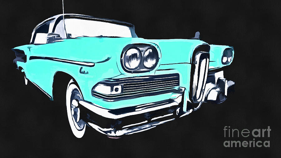 Ford Photograph - Blue Ford Edsel Painting by Edward Fielding