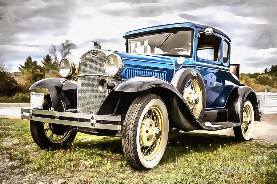 Car Photograph - Blue Ford Model A Car by Edward Fielding