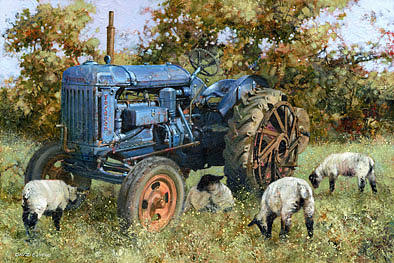 Sheep Painting - Blue Fordson by David Lyons