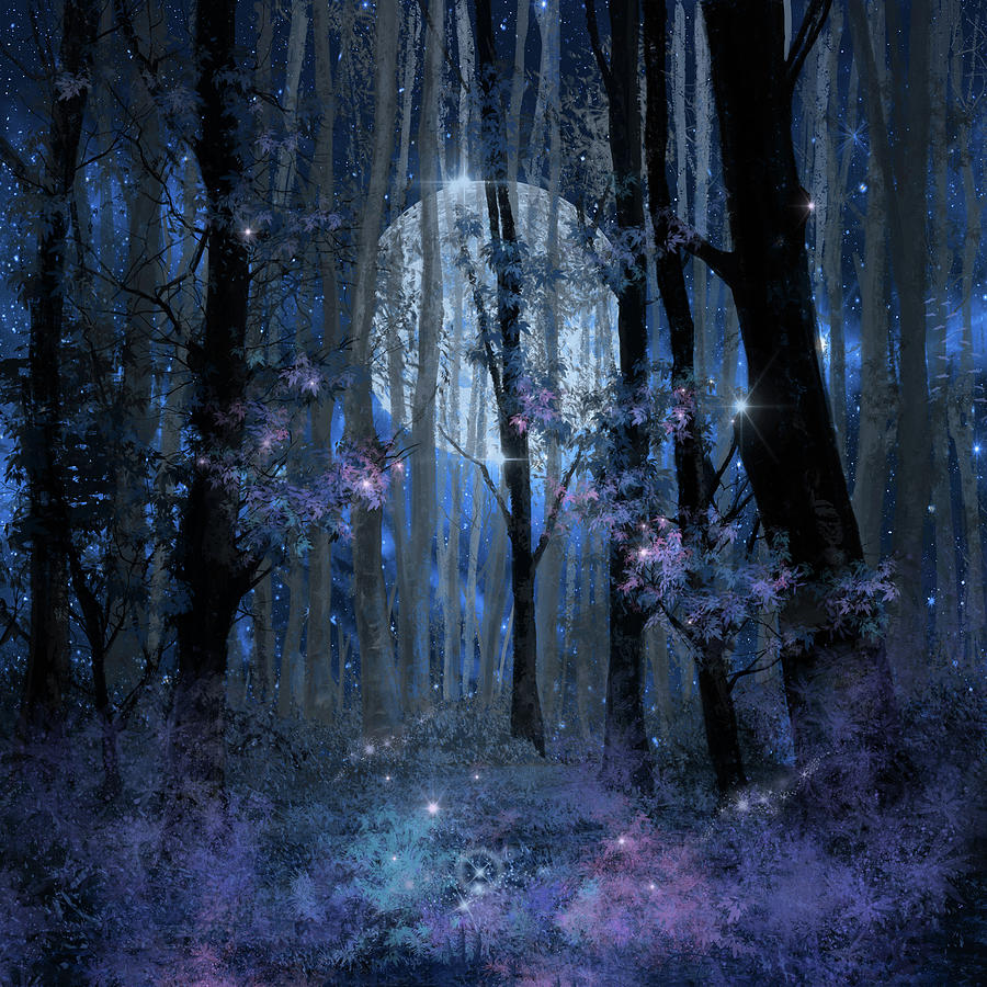 Forest Painting - Blue Forest by Bekim M