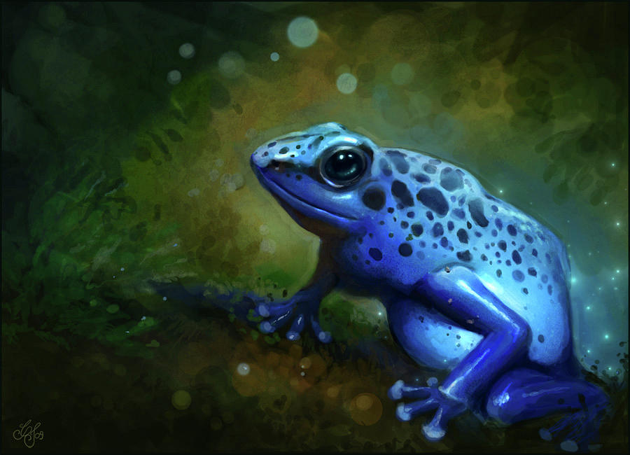 Frog Painting - Blue Frog by Caroline Jamhour