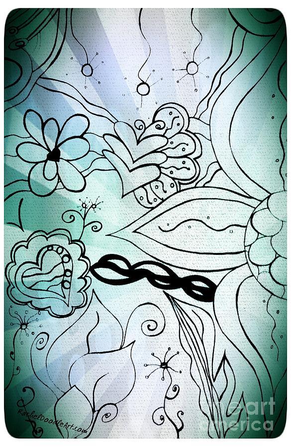 Doodle Drawing - Blue Funky Flower Doodles by Rachel Maynard