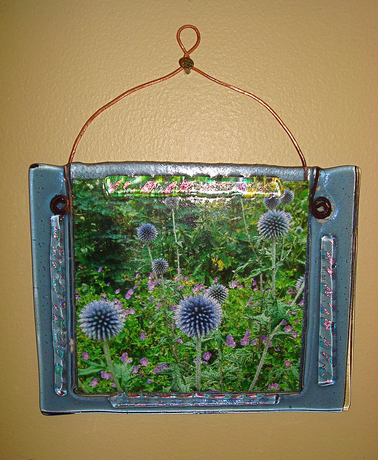 Picture Frame Glass Art - Blue Fused Glass Picture Frame by Cydney Morel-Corton