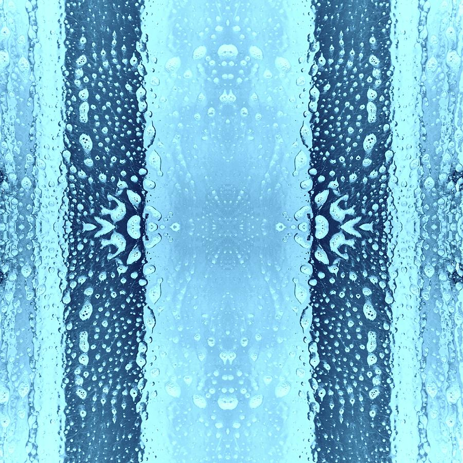Brandi Fitzgerald Digital Art - Blue Geometric Bars And Bubbles by Brandi Fitzgerald