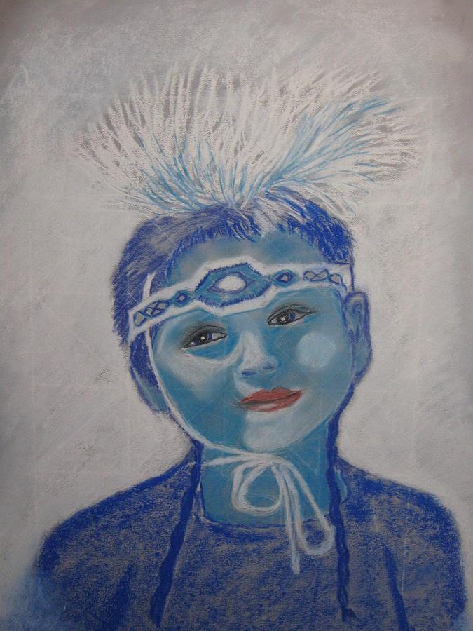 Indian Girl Pastel - Blue Girl by Geanene Anderson