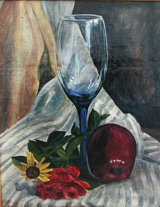 Blue Glass Painting - Blue Glass Waiting For The Other by Judy Loper