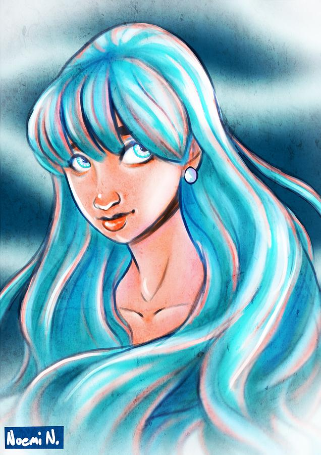 Girl Digital Art - Blue Glow by Noemi N