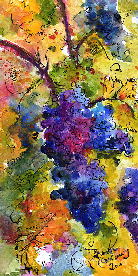 Grapes Painting - Blue Grapes by Ginette Callaway