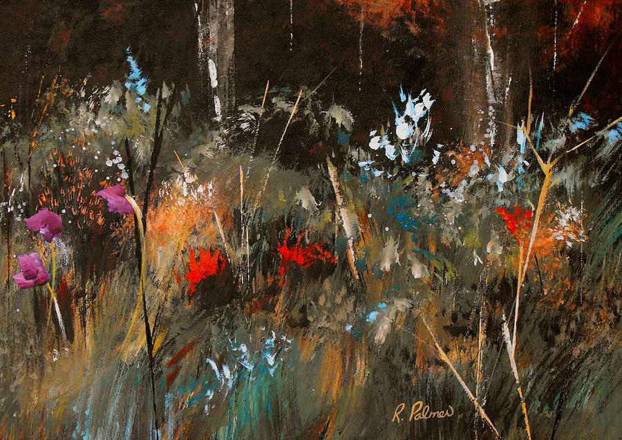 Abstract Painting - Blue Grass And Wild Flowers by Ruth Palmer