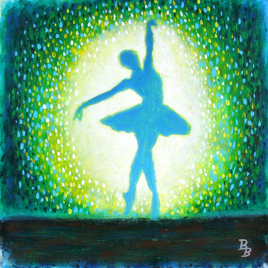 Ballerina Painting - Blue-green Ballerina by Bob Baker