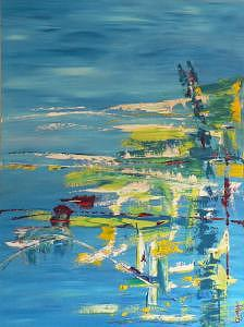 Blue Green H2o Painting by Bjay Allen