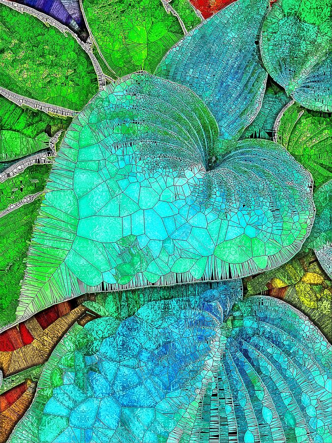 Blue Green Hosta Stained Glass Digital Art By Mo Barton