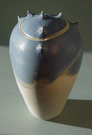 Handmade Sculpture - Blue Grey Spike Jar 3 by Skip Bleecker