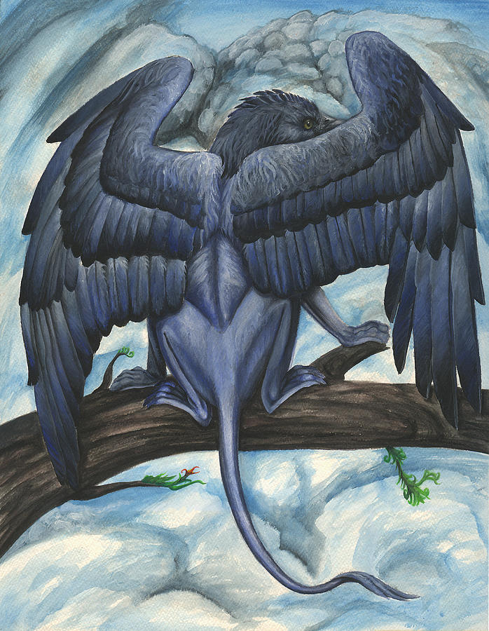 Griffin Painting - Blue Griffin by Jennifer Hotai