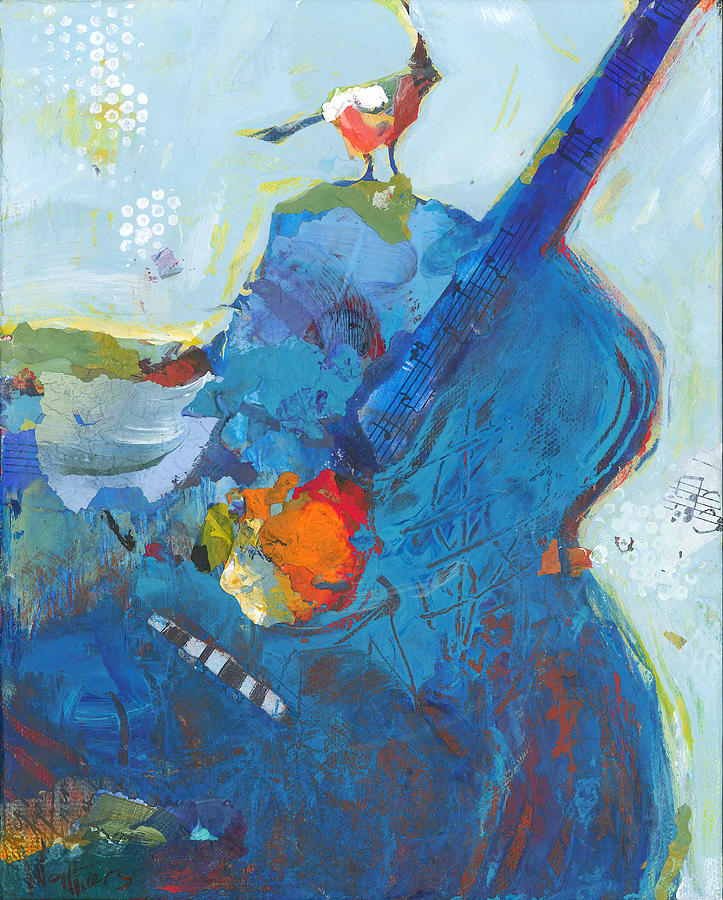 Guitar Painting - Blue Guitar With Bird by Shelli Walters