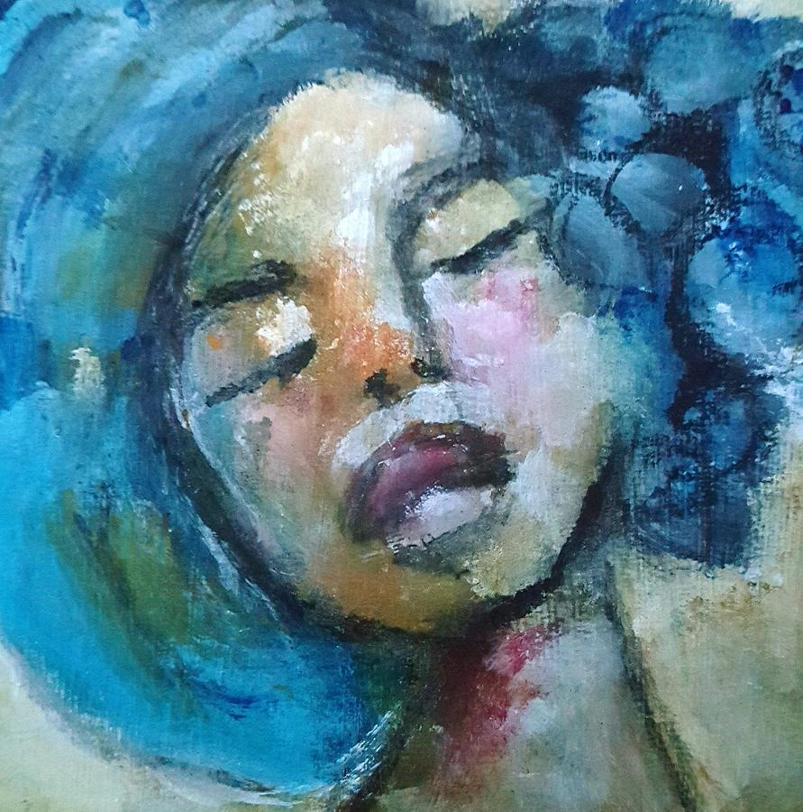 Portrait Mixed Media - Blue Haired Lady by Milagros Suriano-Rivera