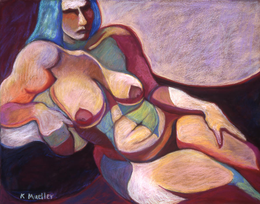 Reclining Nude Pastel - Blue-haired Odalisque by Kate Mueller
