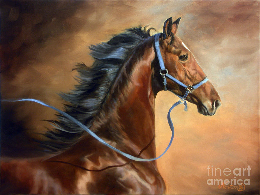American Saddlebred Painting - Blue Halter Yearling by Jeanne Newton Schoborg