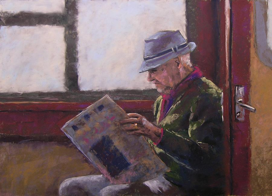 Man Painting - Blue Hat Retired by Mary McInnis