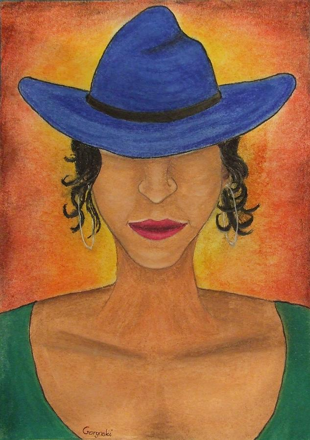 Blue Hat Drawing - Blue Hat by Sebastian Gorynski