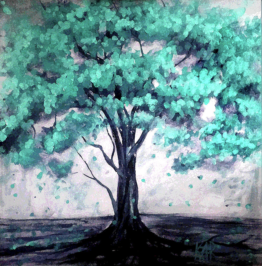 Tree Painting - Blue Haven by Art by Kar
