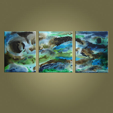 Large Abstract Painting - Blue Haze by Jean Brewster