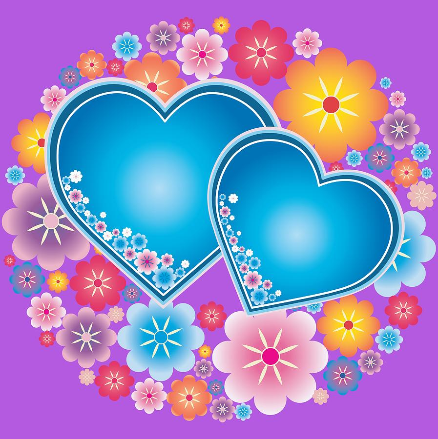 Blue Hearts And Flowers Digital Art By Olga Cherverikova