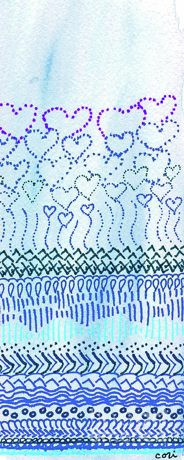 Blue Drawing - Blue Hearts Rising by Corinne Carroll