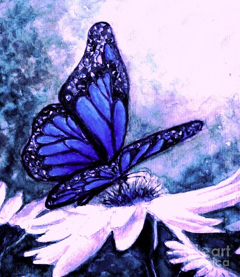 Blue Butterfly Painting - Blue Heaven by Hazel Holland