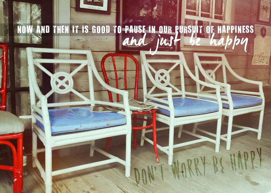 Chair Photograph - Blue Heaven Quote by JAMART Photography