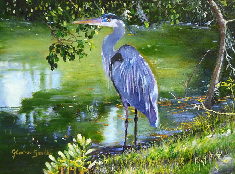 Heron Painting - Blue Heron by Gloria Smith