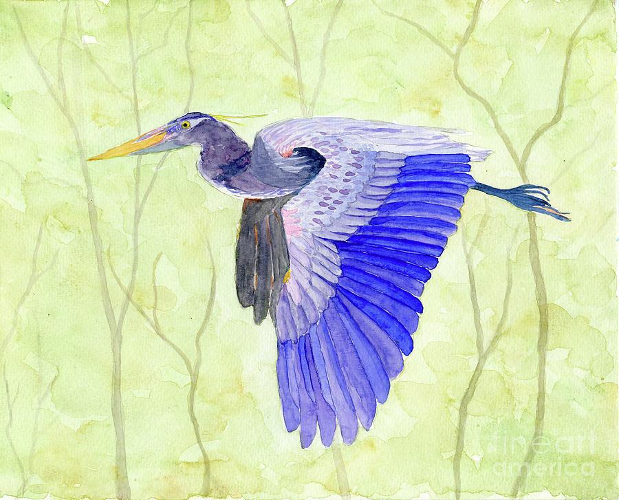Blue Heron in Flight by Anne Marie Brown
