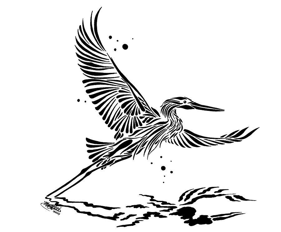 Heron Drawing - Blue Heron In Flight by Monica Webster