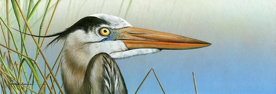 Florida Wildlife Painting - Blue Heron  by Mike Brown
