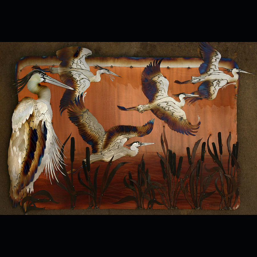 Herons Sculpture - Blue Herons At Sunrise by Laura  Knight