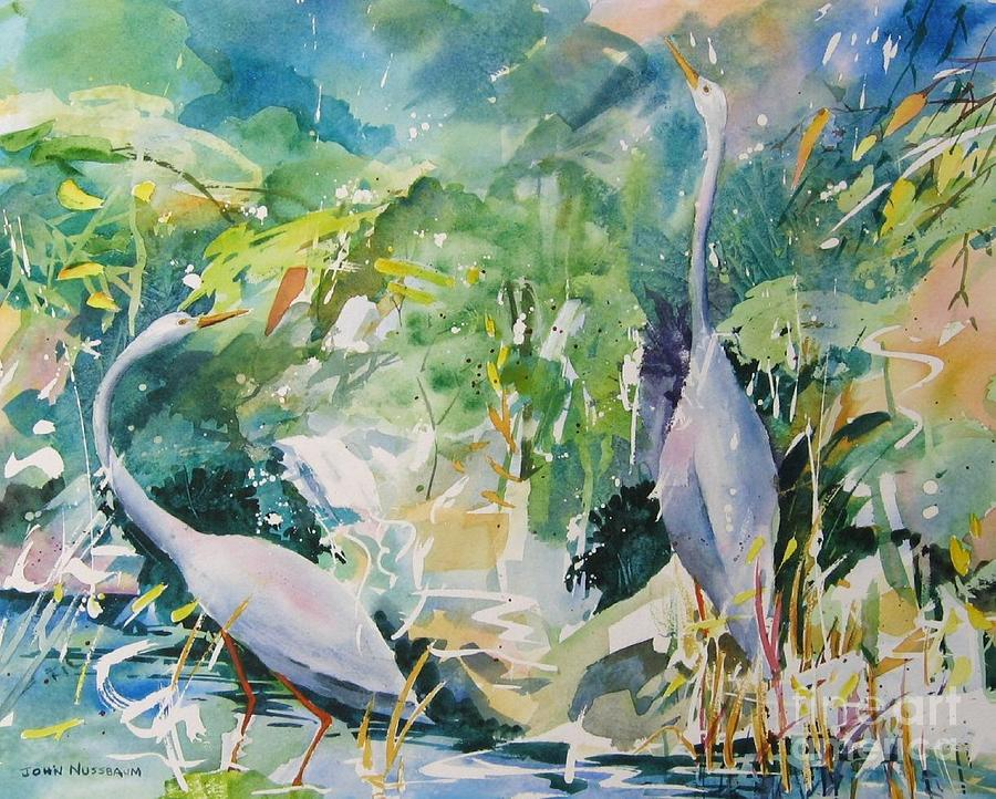 Abstract Paintings Painting - Blue Herons by John Nussbaum