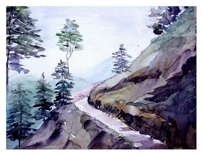 Landscape Painting - Blue Hills by Anil Nene