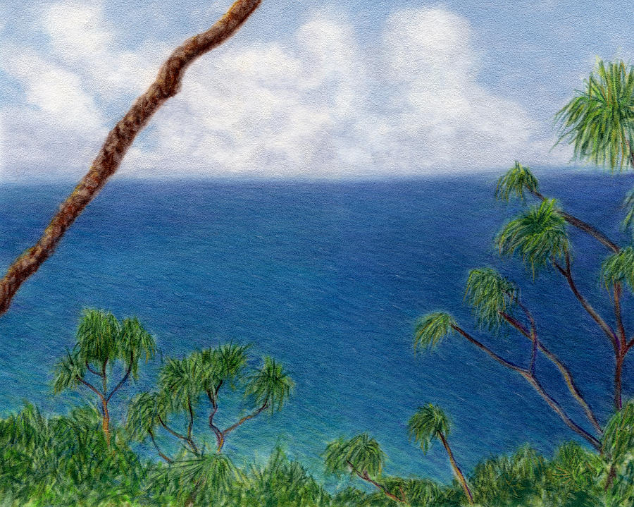 Tropical Interior Design Painting - Blue Horizon by Kenneth Grzesik