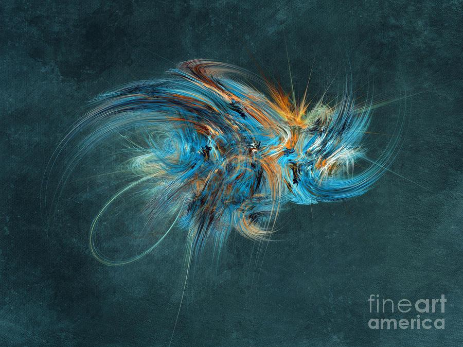 Hornet Digital Art - Blue Hornet Fractal Art by Justyna Jaszke JBJart