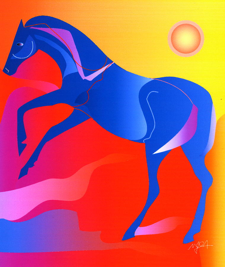 Horse Digital Art - Blue Horse by Mary Armstrong