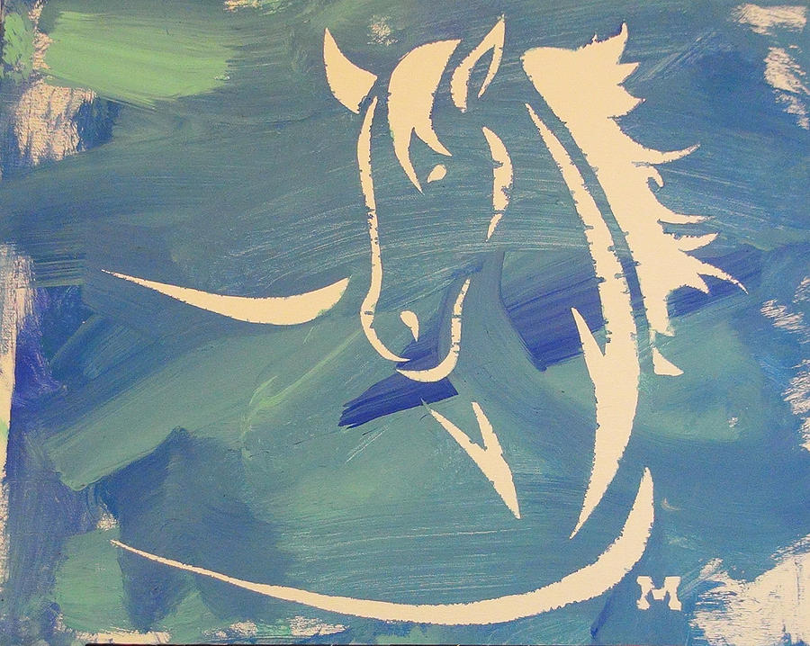 Horse Painting - Blue Horse Sky by Candace Shrope
