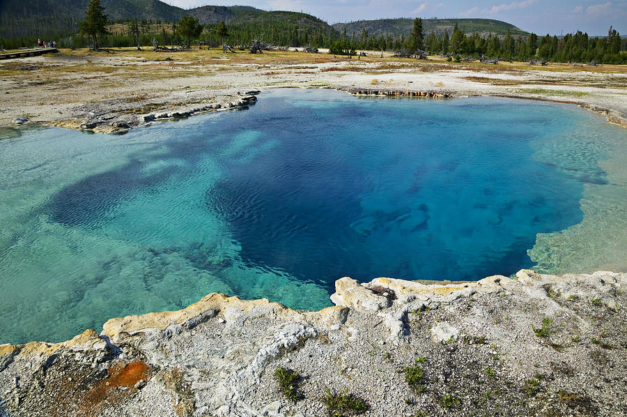 Hot Photograph - Blue Hot Springs Yellowstone National Park by Garry Gay