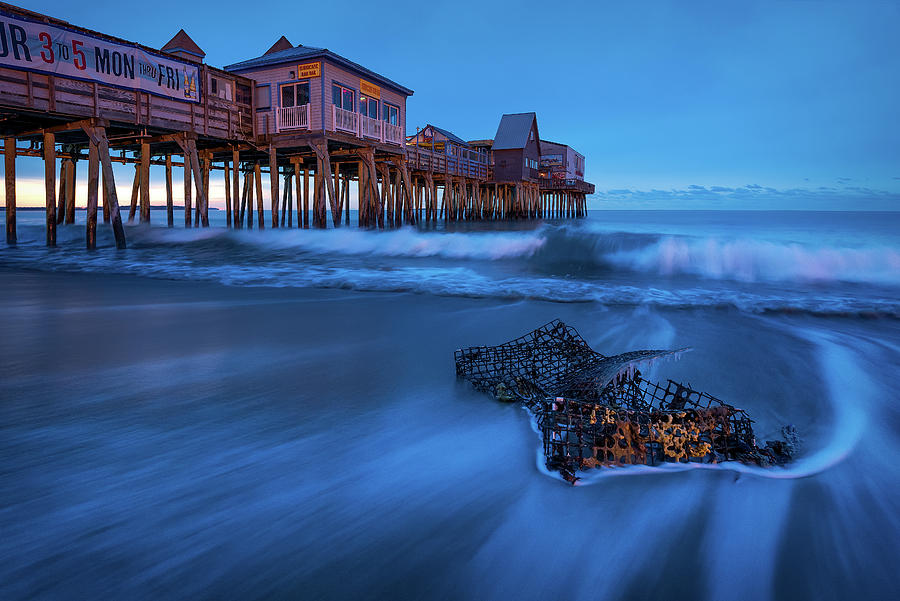 Blue Hour At The Old Orchard Beach Pier Photograph by Jeff Bazinet