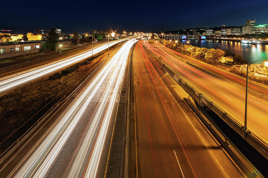 Portland Photograph - Blue Hour Freeway Light Trails by David Gn