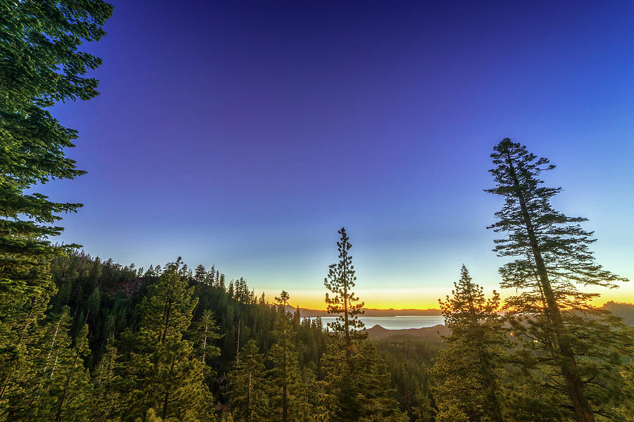 Blue Hour Summer Sunset Over Lake Tahoe With Lots Of Trees Photograph