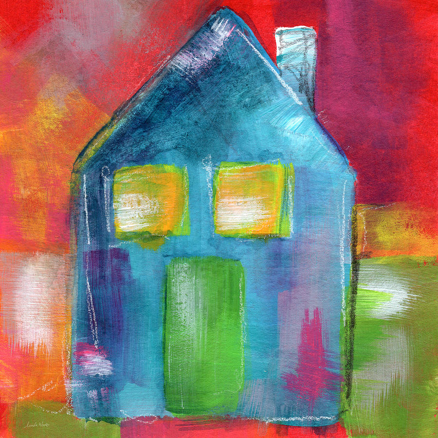 Blue House- Art By Linda Woods Painting
