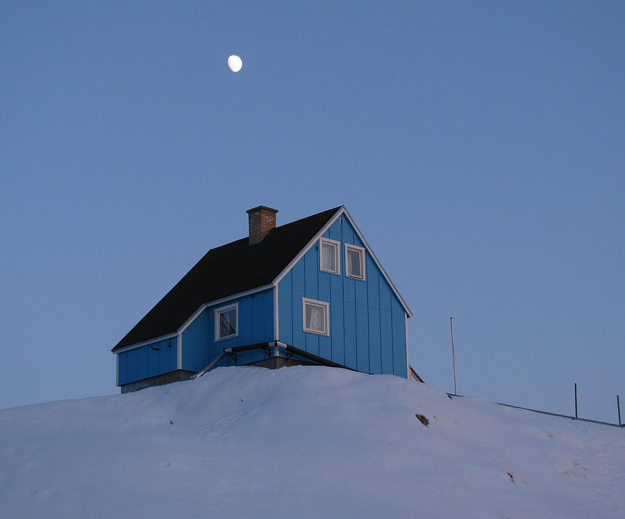 Sisimiut Photograph - Blue House With Moon by Sidsel Genee