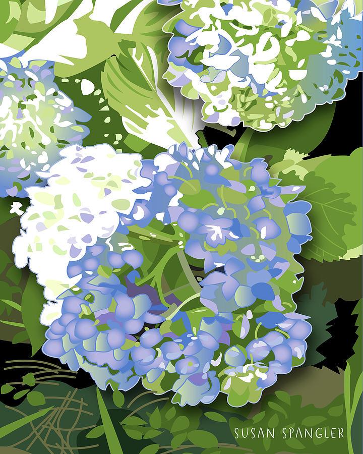 Living Room Digital Art - Blue Hydrangea by Susan Spangler